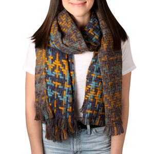 "Honey Blue by H2Z Scarves - 78"" x 26"" Woven Scarf"