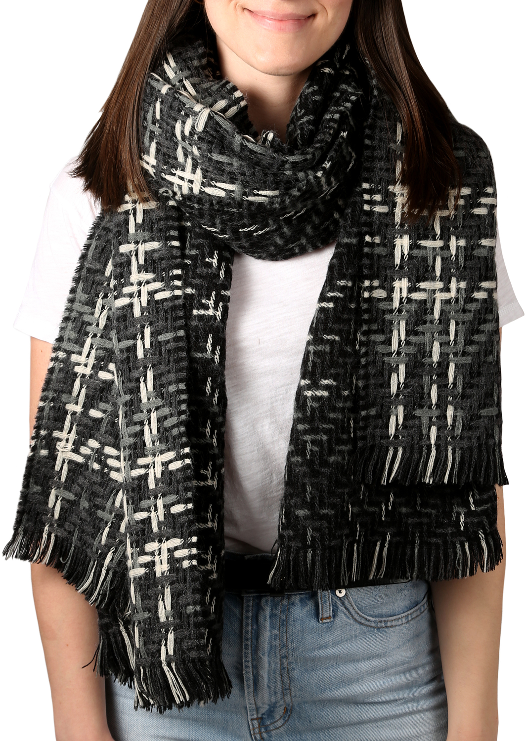 "Subtle Smoke by H2Z Scarves - Subtle Smoke - 78"" x 26"" Woven Scarf"