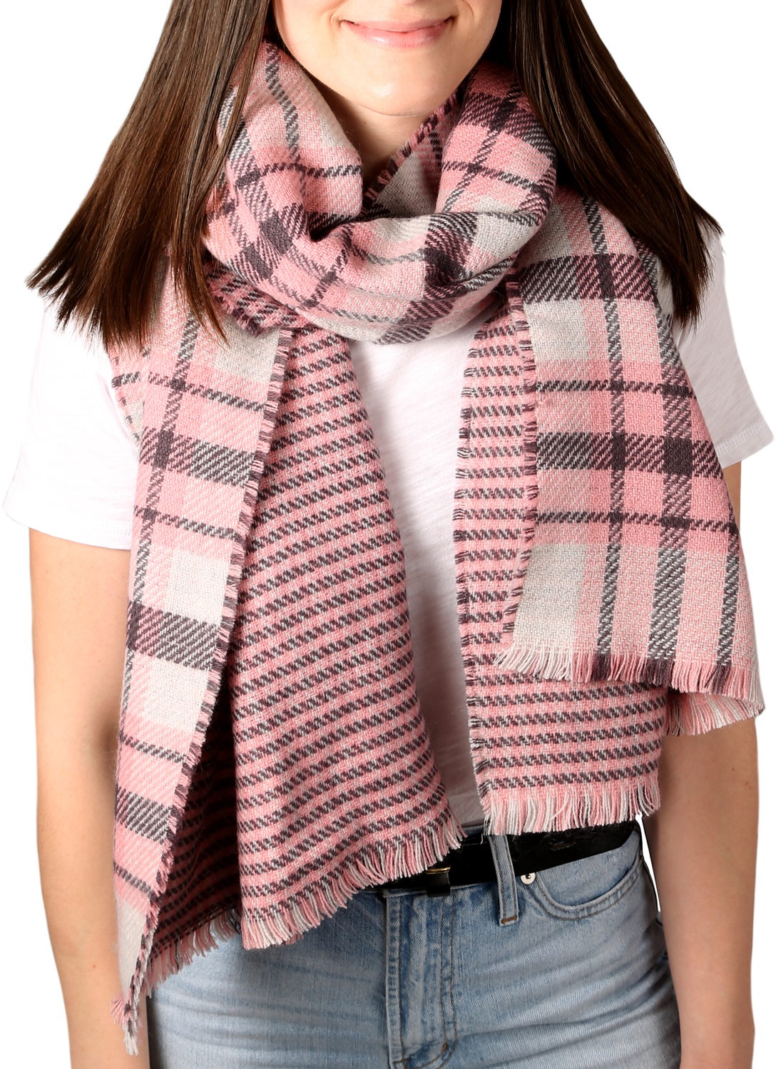 "Twilight Blush by H2Z Scarves - Twilight Blush - 74.5"" x 25.5"" Plaid Scarf"