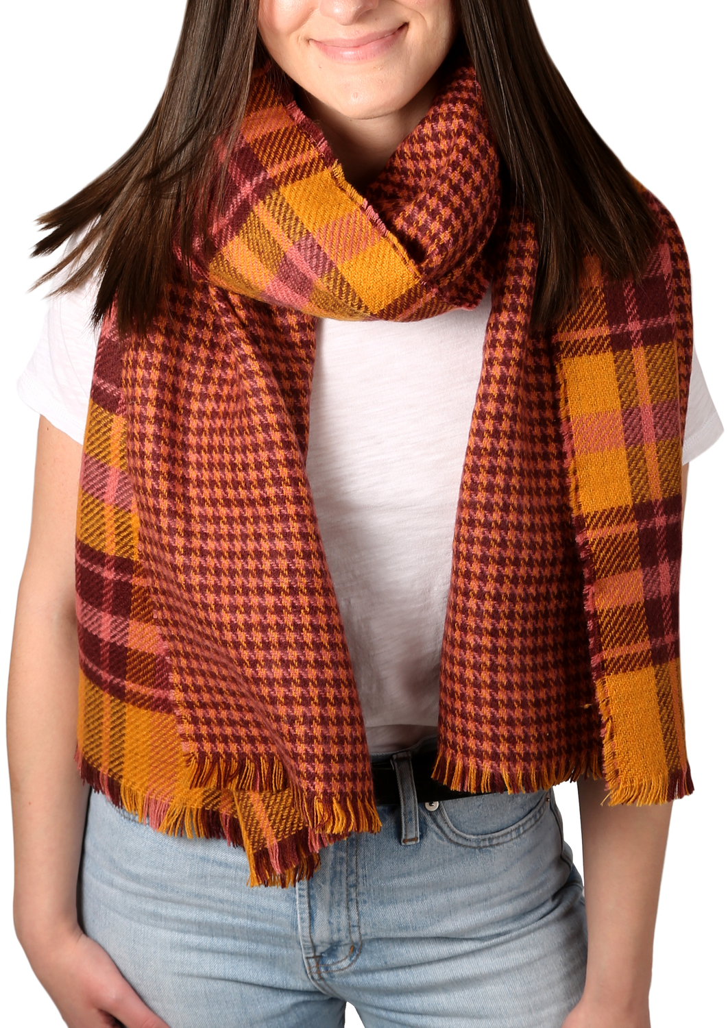 "Apricot Sunset by H2Z Scarves - Apricot Sunset - 74.5"" x 25.5"" Plaid Scarf"