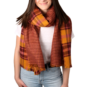 "Apricot Sunset by H2Z Scarves - 74.5"" x 25.5"" Plaid Scarf"