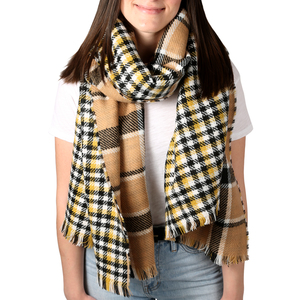 "Butterscotch by H2Z Scarves - 74.5"" x 25.5"" Plaid Scarf"