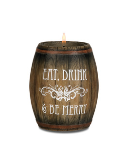 "Eat, Drink, & Be Merry by Wine All The Time - 3.75"" Wine Barrel Candle Holder"