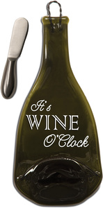 "It's Wine O'Clock by Wine All The Time - 12"" Wine Bottle Serving Tray & Spreader"
