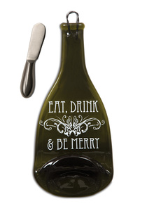 "Eat, Drink & Be Merry by Wine All The Time - 12"" Wine Bottle Serving Tray & Spreader"