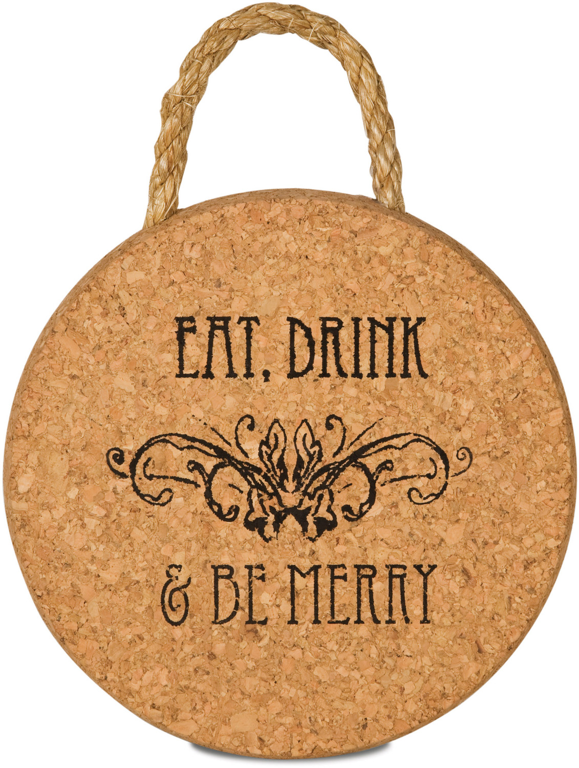 "Eat, Drink & Be Merry by Wine All The Time - Eat, Drink & Be Merry - 6"" Cork Trivet"