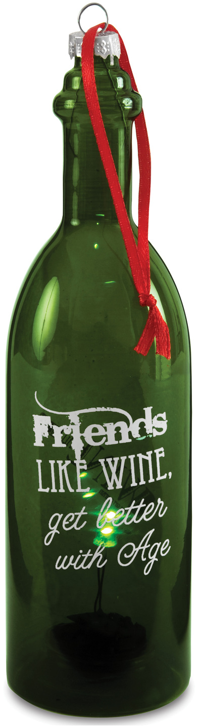 "Friends by Wine All The Time - Friends - 7"" LED Lit Glass Ornament"