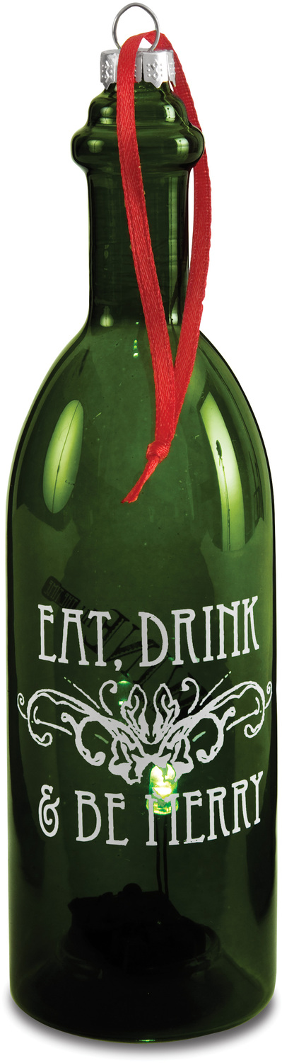 "Eat Drink & Be Merry by Wine All The Time - Eat Drink & Be Merry - 7"" LED Lit Glass Ornament"