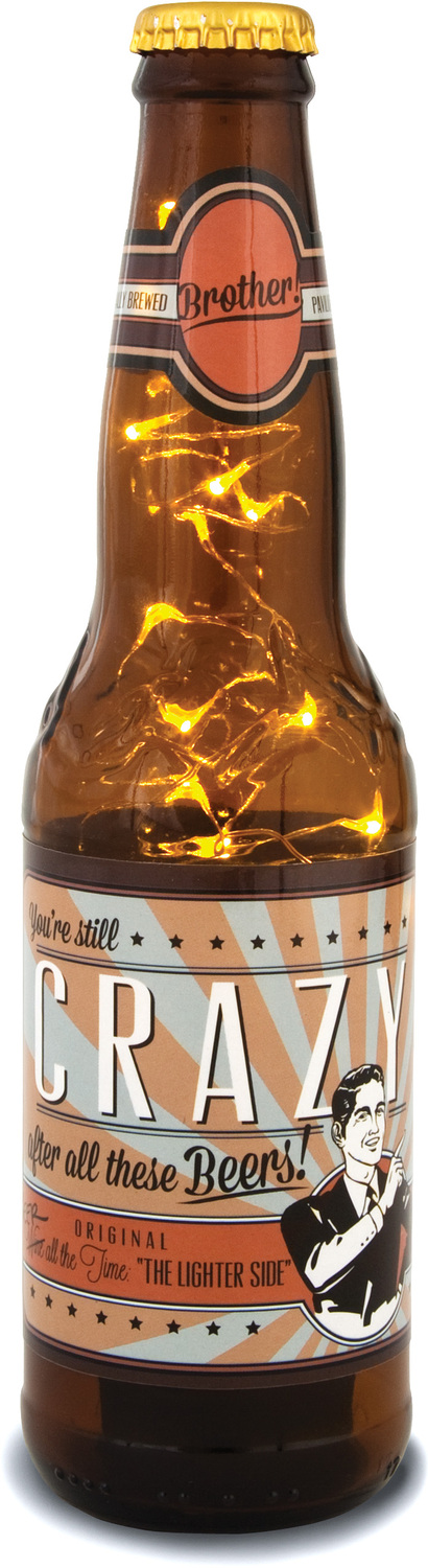 Brother by Wine All The Time - Brother - 16 oz Beer Bottle Lantern