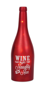"Naughty or Nice by Wine All The Time - 11"" LED Lit Wine Bottles"