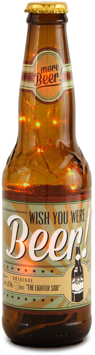"Wish You Were Beer! by Wine All The Time - Wish You Were Beer! - 9""-16oz LED Lit Beer Bottle Lantern"