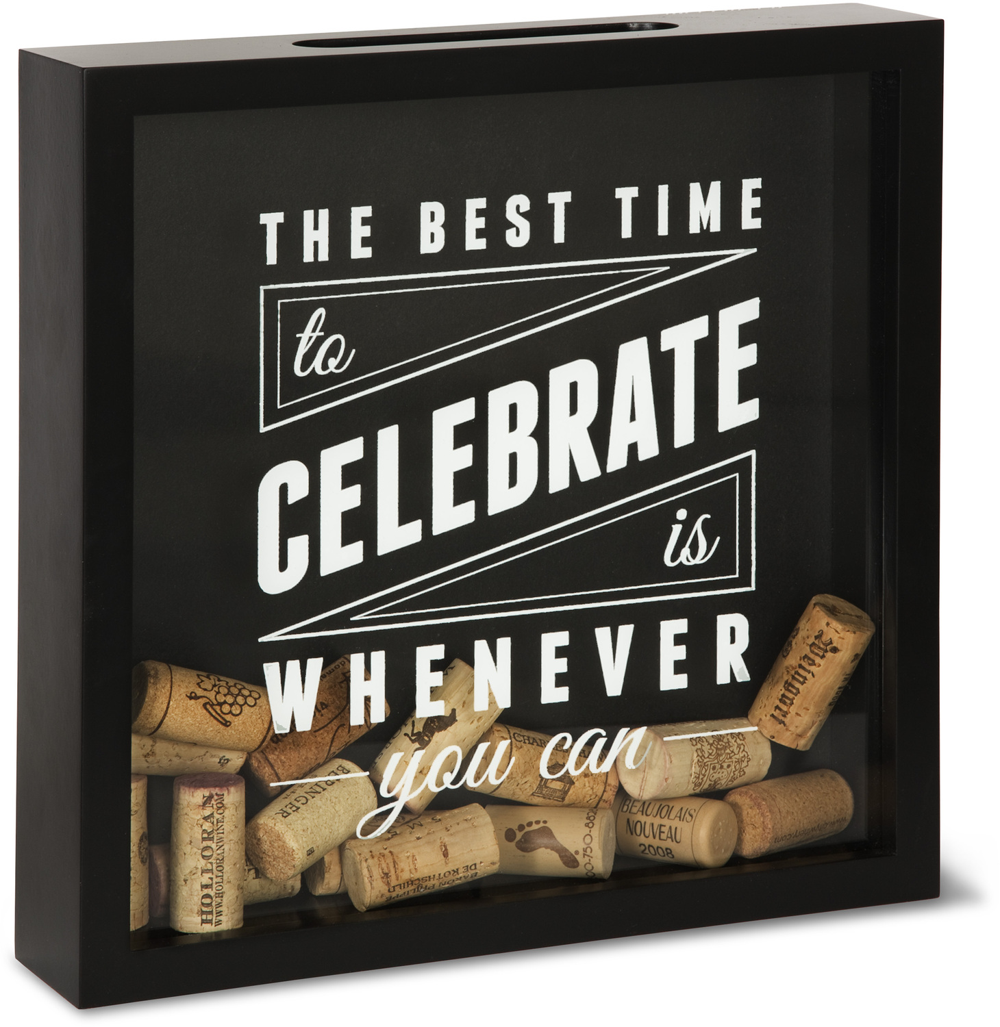 "Celebrate by Wine All The Time - Celebrate - 11"" x 11"" x 2.25"" Wood Cork Holder"