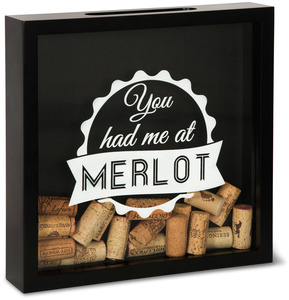 "You Had Me At Merlot by Wine All The Time - 11"" x 11"" x 2.25"" Wood Cork Holder"