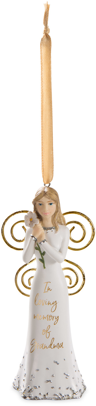 "Grandma by Butterfly Whispers - Grandma - 4.5"" Angel Ornament Holding a Flower"