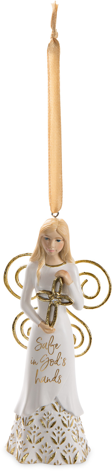 "God's Hands by Butterfly Whispers - God's Hands - 4.5"" Angel Ornament Holding a Cross"