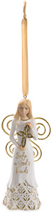 "God's Hands by Butterfly Whispers - 4.5"" Angel Ornament Holding a Cross"