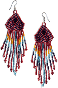 "Wild Sky by Tribal Chic Collection - 3.75"" Beaded Earrings"