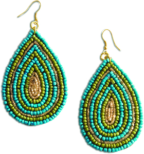 "Aqua Drops by Tribal Chic Collection - 2.5"" Beaded Earrings"