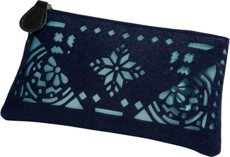 "Navy and Aqua by H2Z Felt Accessories - 8"" x 0.5"" x 4.5"" Pouch"