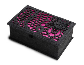 "Charcoal and Fuchsia by H2Z Felt Accessories - 7.75"" x 5"" x 2.75"" Small Jewelry Box"