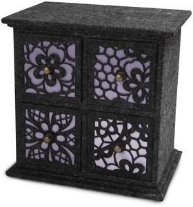 "Charcoal and Lavender by H2Z Felt Accessories - 8"" x 5.75"" x 8"" - 4 Drawer Chest"