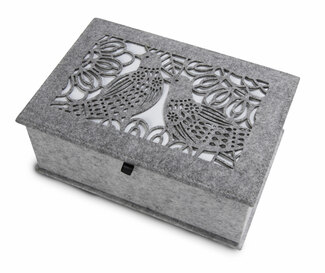 "Heather Gray and Ivory by H2Z Felt Accessories - 9.75"" x 6.75"" x 3.75"" Large Jewelry Box"