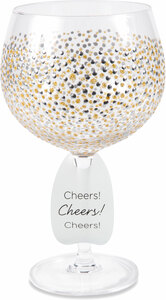 Gold & Silver Dots by Sunny by Sue - 24 oz Hand Decorated Glass