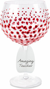 Red Poppies by Sunny by Sue - 24 oz Hand Decorated Glass