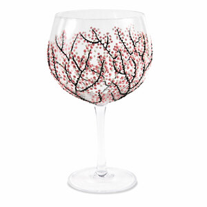 Pink Cherry Blossoms by Sunny by Sue - 24 oz Hand Decorated Glass