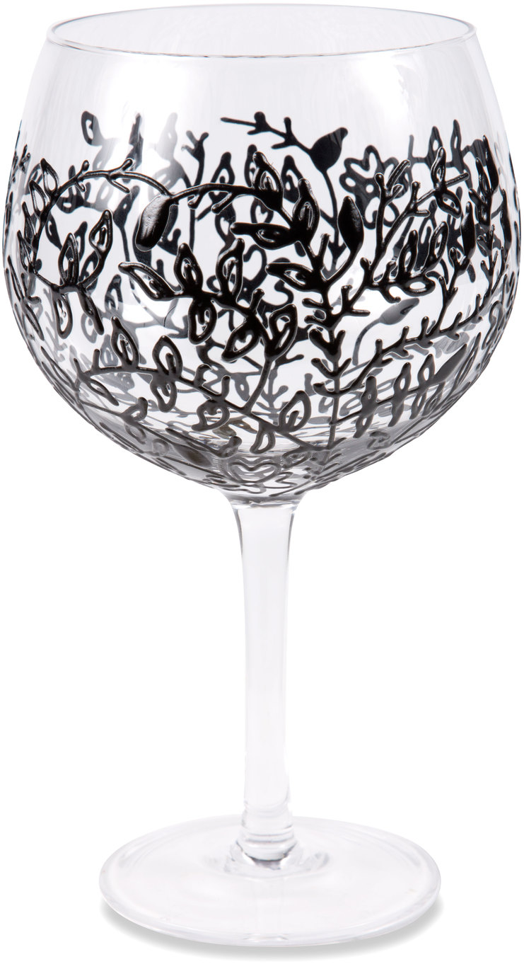 Black Vines by Sunny by Sue - Black Vines - 24 oz Hand Decorated Glass