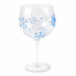 Blue Snowflakes by Sunny by Sue - 24 oz Hand Decorated Glass