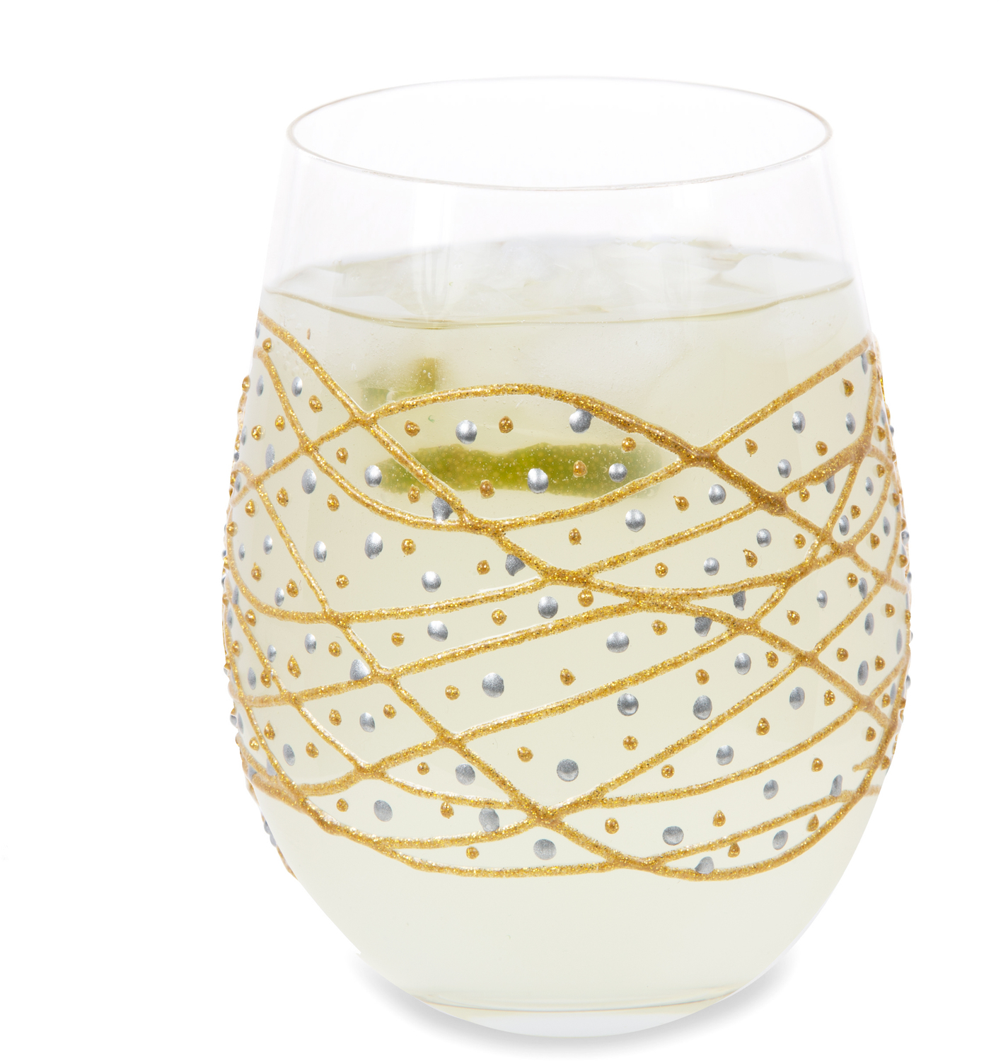 Gold Tangle by Sunny by Sue - Gold Tangle - 18 oz Hand Decorated Stemless Glass