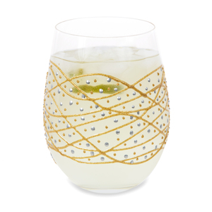 Gold Tangle by Sunny by Sue - 18 oz Hand Decorated Stemless Glass