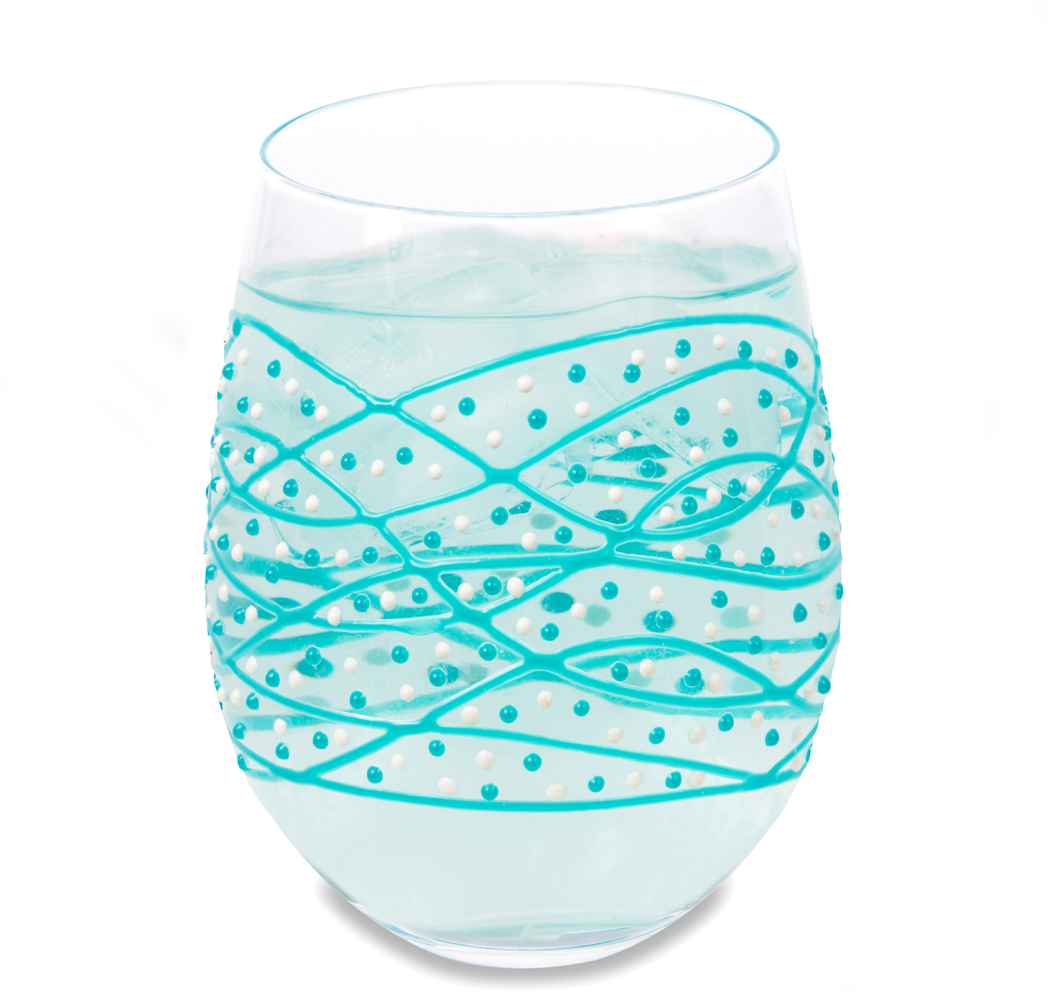 Teal Tangle by Sunny by Sue - Teal Tangle - 18 oz Hand Decorated Stemless Glass