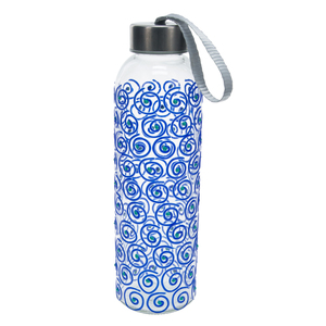 Blue Swirl by Sunny by Sue - 16.5 oz Hand Decorated Glass Water Bottle
