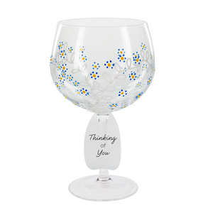 Forget Me Not by Sunny by Sue - 24 oz Hand Decorated Glass