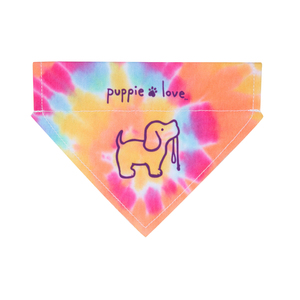 "Tie Dye by Puppie Love - 7"" x 5"" Canvas Slip on Pet Bandana"