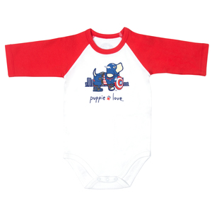 SuperHero by Puppie Love - 6-12 Months 3/4 Length Red Sleeve Onesie