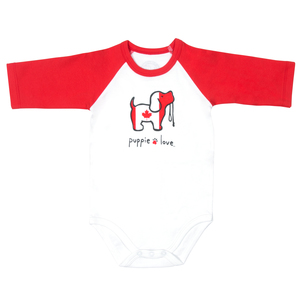 Canada by Puppie Love - 6-12 Months 3/4 Length Red Sleeve Onesie