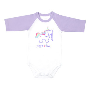 Unicorn by Puppie Love - 6-12 Months 3/4 Length Purple Sleeve Onesie