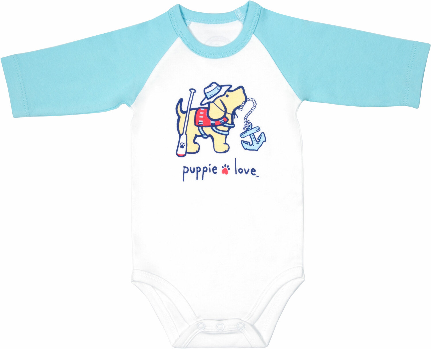 Lake by Puppie Love - Lake - 6-12 Months 3/4 Length Blue Sleeve Onesie