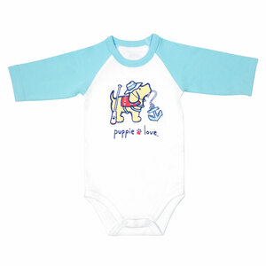 Lake by Puppie Love - 6-12 Months 3/4 Length Blue Sleeve Onesie