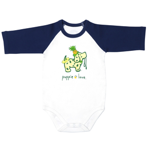 Pineapple  by Puppie Love - 6-12 Months 3/4 Length Navy Sleeve Onesie