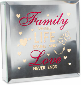 "Family by Reflections of You - 6"" Lit-Mirrored Plaque"