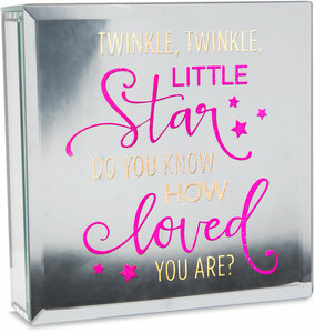 "Twinkle by Reflections of You - 6"" Lit-Mirrored Plaque"