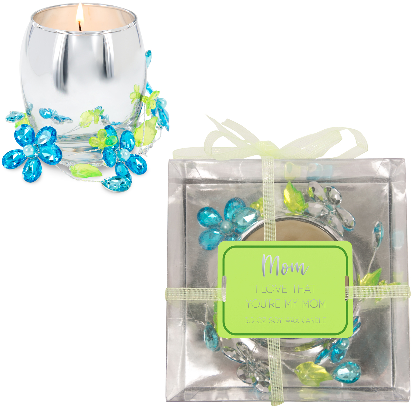 Mom Blue Flower by Reflections of You - Mom Blue Flower - 3.5oz 100% Soy Wax Candle Scent: Jasmine