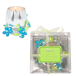 Mom Blue Flower by Reflections of You - 3.5oz 100% Soy Wax Candle Scent: Jasmine