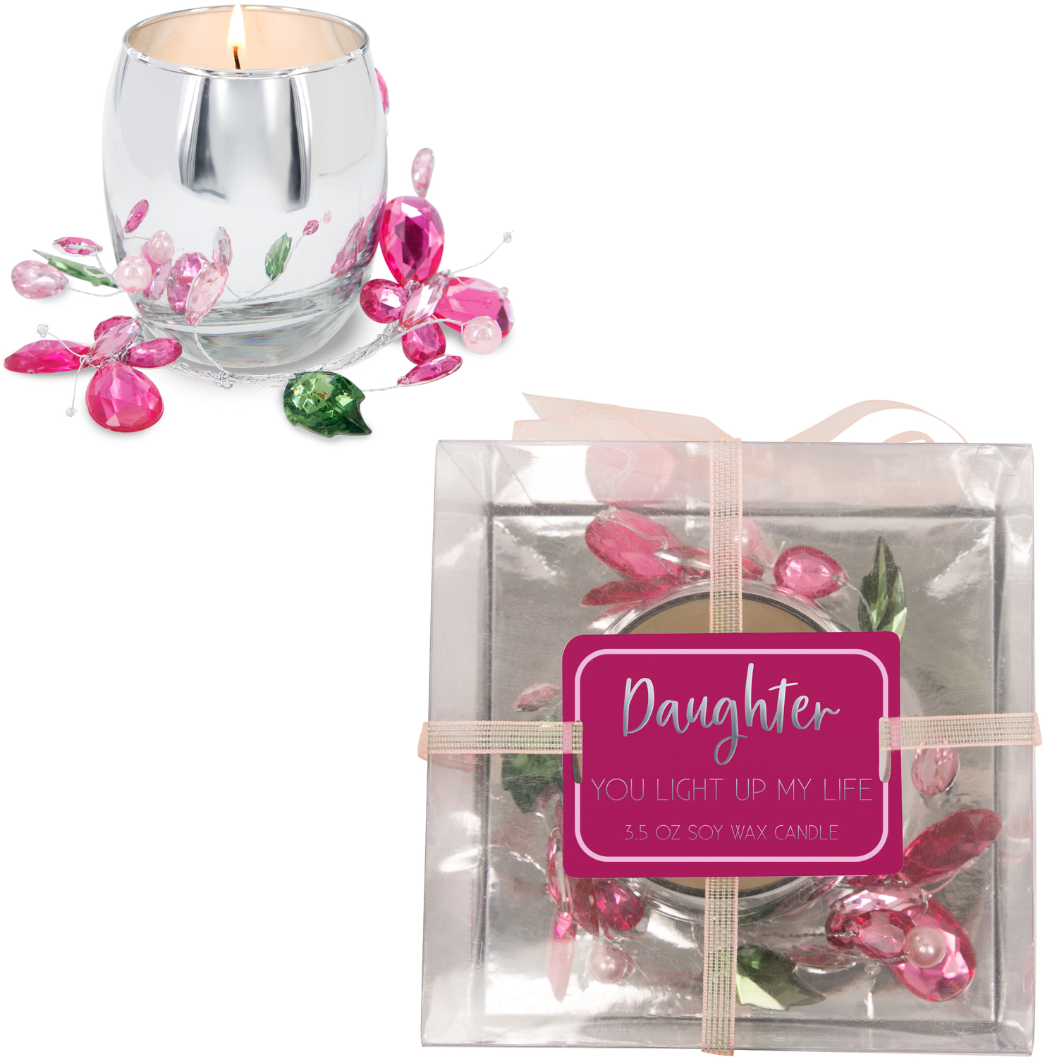 Daughter Pink Butterfly by Reflections of You - Daughter Pink Butterfly - 3.5oz 100% Soy Wax Candle Scent: Jasmine