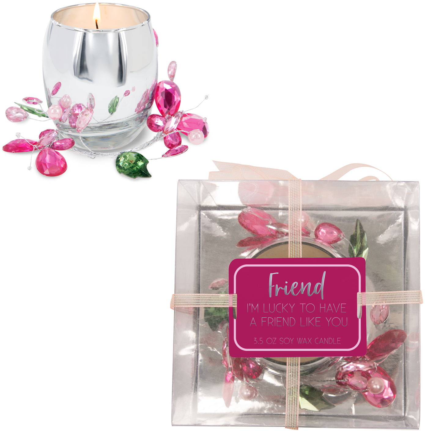 Friend Pink Butterfly by Reflections of You - Friend Pink Butterfly - 3.5oz 100% Soy Wax Candle Scent: Jasmine