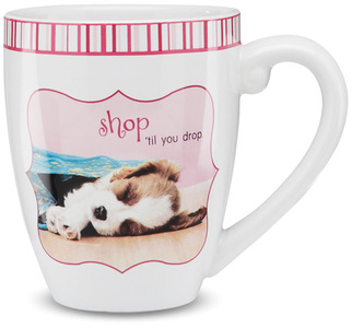 "Shop 'til you drop by Shaded Pink - 4.75"" Mug"